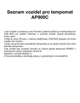 Seznam vozidel AP900C 18.07K