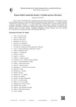 Kánon titulů k maturitní zkoušce z českého jazyka a literatury 2014