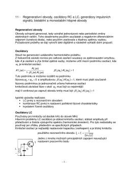 Regenerativní obvody, oscilátory RC a LC, generátory impulsních
