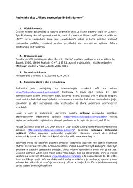 """Podmínky akce """"Allianz cestovní pojištění s dárkem"""""""