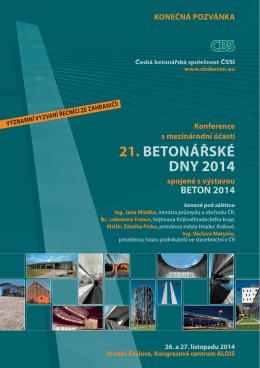 21. BETONÁŘSKÉ DNY 2014 - Česká betonářská společnost ČSSI