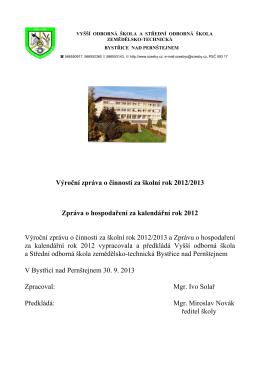2012/2013 - VOŠ a SOŠ Bystřice nad Pernštejnem