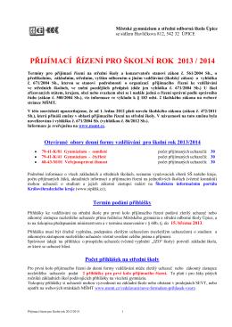 přijímací řízení pro školní rok 2013 / 2014