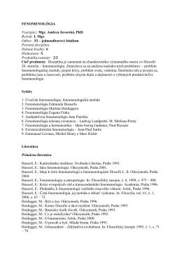 FENOMENOLÓGIA (ZS 2008/2009)