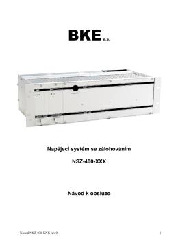 Napájecí systém se zálohováním NSZ-400-XXX Návod k