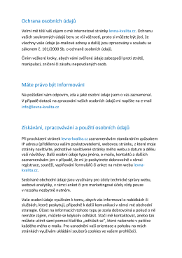 Ochrana osobních údajů Máte právo být informováni - levna