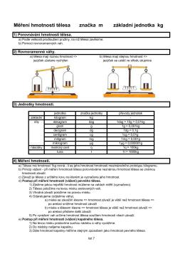 Měření hmotnosti tělesa značka m základní jednotka kg