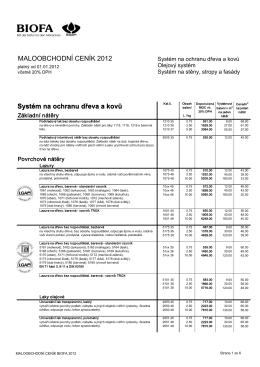 MALOOBCHODNÍ CENÍK 2012 Systém na ochranu dřeva a
