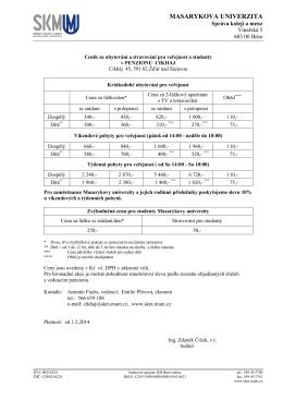 Aktuální ceník - Správa kolejí a menz