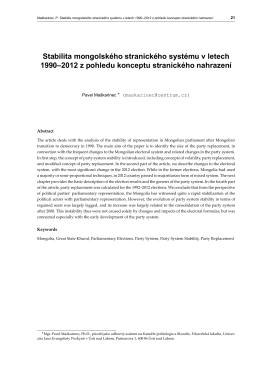 Stabilita mongolského stranického systému v letech 1990–2012 z