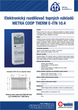 Technický list Metra E-ITN 10.4