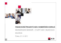 Financování projektů OZE z komerčních zdrojů