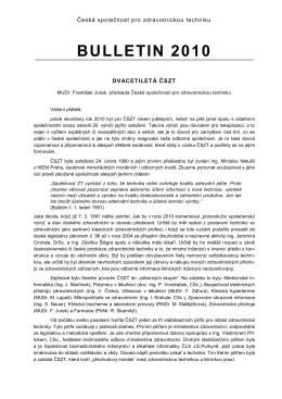 Bulletin 2010 - Česká společnost pro zdravotnickou techniku