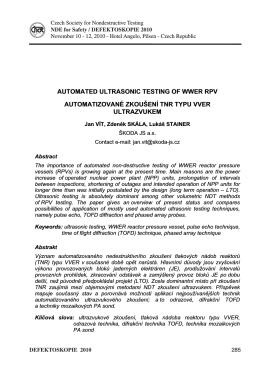 automatizované zkoušení tnr typu vver ultrazvukem