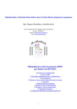 Minimální preventivní program (MPP) pro školní rok