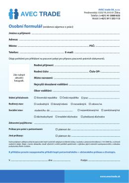 Formulář pro ruční vyplnění