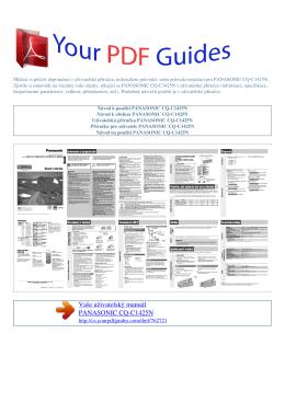 Uživatelská příručka PANASONIC CQ-C1425N