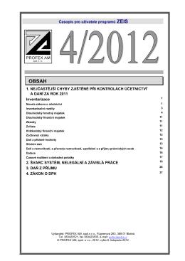 Časopis pro uživatele programů ZEIS 1. NEJČASTĚJŠÍ CHYBY