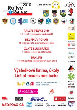 Výsledková listina a přehled úkolů Rallye Rejvíz 2010