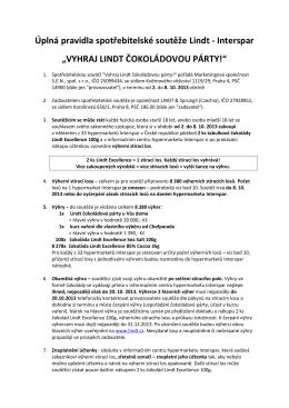Úplná pravidla spotřebitelské soutěže Lindt