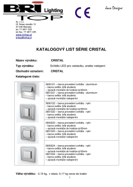 KATALOGOVÝ LIST SÉRIE CRISTAL