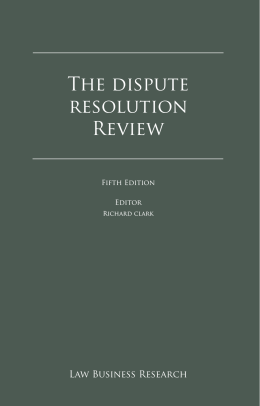 The dispute resolution Review - Tomaier legal advokátní kancelář sro