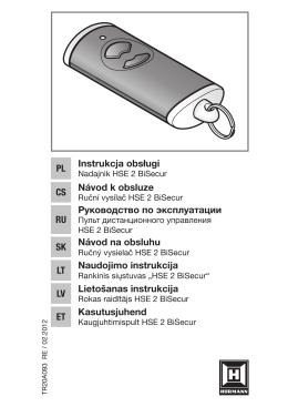 Návod HSE 2 BiSecur