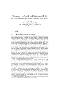 Taxonomie výpočetních modelů neuronových sítí: