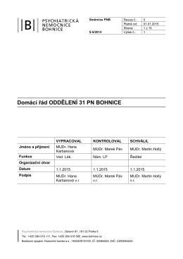 Domácí řád oddělení PNB - Psychiatrická nemocnice Bohnice