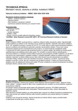 Technická zpráva-montážní návod obsluha údržba