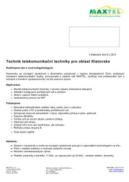 Technik telekomunikační techniky pro oblast Klatovska