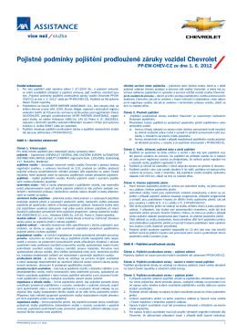 Pojistné podmínky pojištění prodloužené záruky vozidel Chevrolet