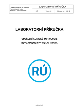 Laboratorní příručce - Revmatologický ústav