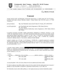 Usnesení - Exekutorský úřad Trutnov