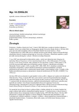 Mgr. Vít ZDRÁLEK - Ústav hudební vědy