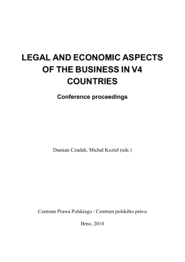 legal and economic aspects of the business in v4 countries