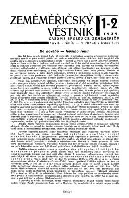 ZEMEMERICSKY 1.2 VĚSTN íK 19 3 9