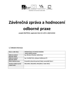 Závěrečná zpráva a hodnocení odborné praxe