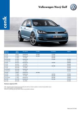 ceník VW Golf pro Českou republiku
