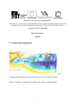 1 PRACOVNÍ LIST 1 Zeměpis Téma: Oceány a moře, ropné havárie
