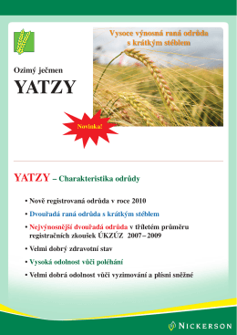 Ozimý ječmen YATZY – Charakteristika odrůdy