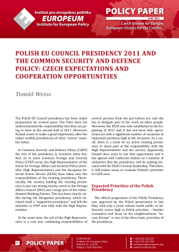 polish eu council presidency 2011 and the common security and