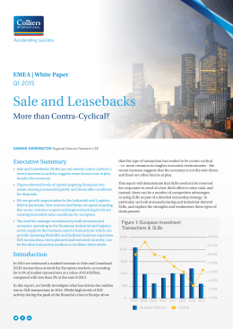 Sale and Leasebacks - Colliers International