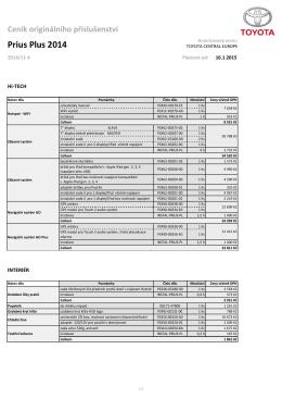 Ceník příslušenství - Prius+