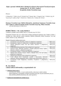 Zápis z porady ředitelů škol a školských zařízení zřizovaných