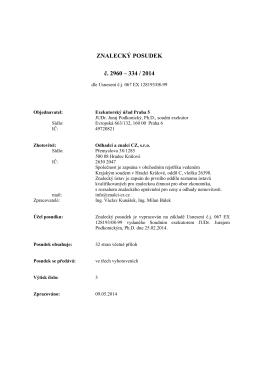 ZNALECKÝ POSUDEK č. 2960 – 334 / 2014