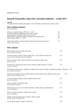 Rejstřík Finančního, daňového a účetního bulletinu – ročník 2013