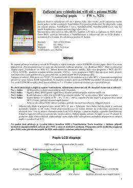 Zařízení pro vyhledávání wifi sítí v pásmu 5GHz Stručný popis