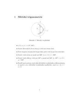 1 Sférická trigonometrie