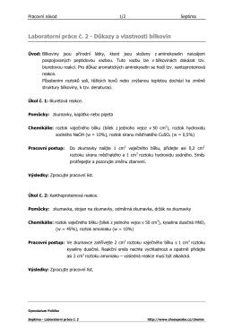 Laboratorní práce č. 2 - Důkazy a vlastnosti bílkovin